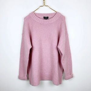 Lord & Taylor Pink Oversized Chunky Knit Sweater
